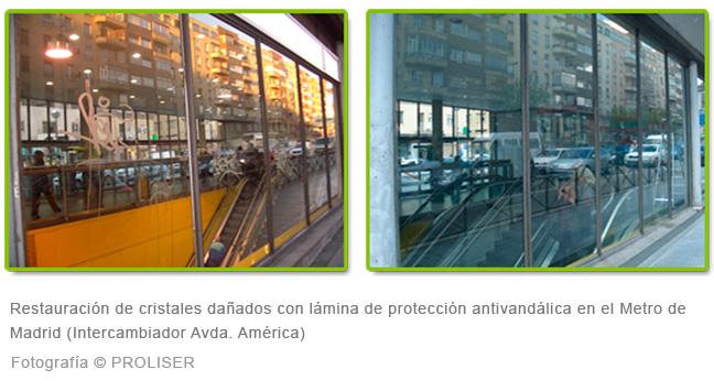 Restauración de cristales dañados con lámina de protección antivandálica