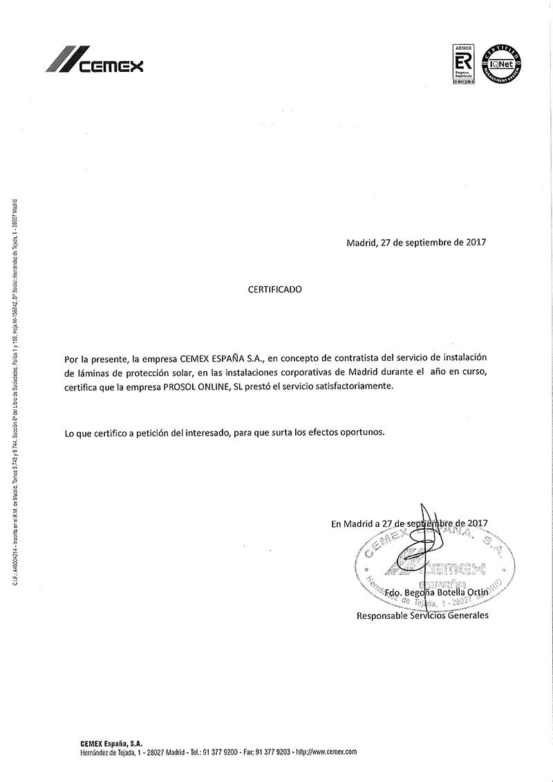 Certificado CEMEX